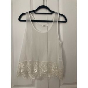 White tank with lace trim